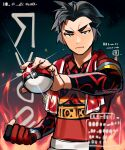 1boy black_eyes black_hair clenched_hand closed_mouth collared_shirt commentary_request dynamax_band gloves highres holding holding_poke_ball kabu_(pokemon) looking_at_viewer male_focus miyukiyo poke_ball poke_ball_(basic) pokemon pokemon_(game) pokemon_swsh poster_(medium) shirt short_hair short_sleeves shorts single_glove sketch solo towel towel_around_neck younger