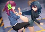 2girls angel_beats! bangs battle black_hair black_hairband black_pants black_shirt blue_jacket bow clenched_teeth commission crossed_arms eyebrows_visible_through_hair feet_out_of_frame floating_hair green_bow green_eyes grey_shorts hair_between_eyes hairband jacket kicking long_hair motion_blur multiple_girls nakamura_hinato open_clothes open_jacket pants pink_footwear profile purple_hair red_eyes ribbed_shirt shiina_(angel_beats!) shirt shoes short_shorts shorts skeb_commission standing standing_on_one_leg teeth turtleneck very_long_hair yuri_(angel_beats!)
