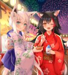 2girls :t ;d aerial_fireworks ahoge animal_ear_fluff animal_ears bangs black_hair blue_eyes blush brown_eyes closed_mouth commentary_request eating eyebrows_visible_through_hair fireworks floral_print food fox_ears fox_girl fox_tail hair_between_eyes hand_fan hand_up highres holding hololive hoshino_reiji ice_cream japanese_clothes kimono long_hair long_sleeves looking_at_viewer multicolored_hair multiple_girls night one_eye_closed ookami_mio open_mouth outdoors paper_fan print_kimono red_kimono redhead shirakami_fubuki smile standing streaked_hair summer_festival tail takoyaki uchiwa very_long_hair virtual_youtuber white_hair white_kimono wide_sleeves wolf_ears wolf_girl wolf_tail yukata