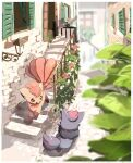 blurry brown_eyes building commentary day fence gen_1_pokemon gen_5_pokemon highres leaf nao_(naaa_195) no_humans open_mouth outdoors pokemon pokemon_(creature) smile stairs standing vulpix window zorua