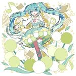 1girl :d aqua_eyes aqua_hair bangs commentary_request dandelion dress eighth_note flower green_dress green_flower hand_on_own_chest hatsune_miku leaf leg_ribbon long_hair long_sleeves looking_at_viewer murasaki_daidai_etsuo musical_note open_mouth pom_pom_(clothes) puffy_dress puffy_long_sleeves puffy_sleeves ribbon sheet_music signature single_sleeve single_thighhigh smile solo thigh-highs twintails very_long_hair vocaloid white_legwear wrist_ribbon yellow_flower