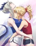 2girls artoria_pendragon_(fate) artoria_pendragon_(lancer_alter)_(fate) bangs bare_shoulders black_shorts blonde_hair blue_tank_top blush braid breasts choker commentary dolphin_shorts fate/apocrypha fate/grand_order fate_(series) green_eyes grey_hair hand_on_another's_head headpat highres horns hug large_breasts long_hair mordred_(fate) mordred_(fate/apocrypha) multiple_girls parted_bangs ponytail red_tank_top scrunchie short_shorts shorts sidelocks small_breasts tail tank_top tonee white_shorts wrist_scrunchie yellow_eyes