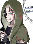 blood blood_on_face blue_eyes green_hoodie highres hood hoodie identity_v naib_subedar nanzhi759 open_mouth stitched_mouth stitches