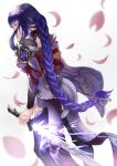 1girl absurdres armor bangs braid coattails commentary electricity english_commentary falling_petals from_behind genshin_impact highres holding holding_sword holding_weapon japanese_clothes kalei_sco kimono long_hair long_sleeves looking_at_viewer looking_back mitsudomoe_(shape) obi petals purple_hair purple_legwear raiden_shogun sash shoulder_armor solo sword tassel thigh-highs tomoe_(symbol) violet_eyes weapon wide_sleeves