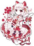 1girl bangs blueberry blueberry_hair_ornament bow buttons center_frills colored_skin dress food food-themed_hair_ornament frilled_dress frills fruit hair_bow hair_ornament highres leaf_hair_ornament long_sleeves murasaki_daidai_etsuo original paw_pose paw_print puffy_long_sleeves puffy_sleeves red_bow red_dress red_eyes red_footwear shirt shoes single_sleeve solo strawberry striped striped_bow striped_dress tail tail_bow tail_ornament twintails whipped_cream white_hair white_shirt white_skin wrist_cuffs