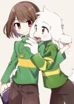 1boy 1other animal_ears asriel_dreemurr bangs blush bob_cut book brown_hair brown_pants chara_(undertale) closed_mouth cowboy_shot fangs furry furry_male gold_necklace green_shirt hand_on_another's_hip hand_up heart heart_necklace highres holding holding_book holding_ears leftporygon long_sleeves looking_at_another multicolored_shirt open_mouth orange_eyes pants pink_background red_eyes shirt short_hair simple_background skin_fangs smile standing swept_bangs tail tareme tsurime turtleneck undertale white_fur yellow_shirt