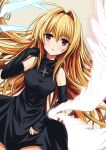 1girl arm_up black_cat_(series) black_dress blonde_hair breasts detached_sleeves dress eve_(black_cat) eyebrows_visible_through_hair feathered_wings hair_intakes highres long_hair open_mouth red_eyes reon_(mrwv3733) short_dress solo turtleneck_dress very_long_hair wings