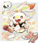 bandaid bandaid_on_nose blush clothed_pokemon commentary_request fang gen_8_pokemon hat hat_removed headwear_removed highres jacket long_sleeves looking_at_viewer nao_(naaa_195) open_mouth orange_eyes pink_footwear pokemon scorbunny shoes shoes_removed sneakers star_(symbol) toes tongue