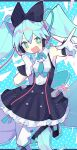 1girl absurdres aqua_background aqua_eyes aqua_hair aqua_neckwear black_bow black_dress bow cable commentary dress foreshortening frilled_dress frills gloves hair_bow hatsune_miku headphones highres leg_up long_hair looking_at_viewer magical_mirai_(vocaloid) makuhari-chan mamimu_(ko_cha_22) necktie outstretched_arm polka_dot polka_dot_background short_necktie solo sparkling_eyes symbol-only_commentary thank_you twintails very_long_hair vocaloid white_gloves white_legwear