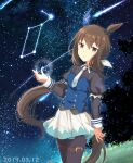 1girl admire_vega_(umamusume) animal_ears bangs black_legwear blouse blue_blouse closed_mouth comet commentary_request constellation cowboy_shot dated ear_covers ear_ribbon eyebrows_visible_through_hair hair_ribbon horse_ears horse_girl horse_tail juliet_sleeves kuonkimi long_hair long_sleeves looking_at_viewer miniskirt necktie night night_sky pantyhose pleated_skirt puffy_sleeves ribbon single_ear_cover skirt sky solo standing star_(sky) starry_sky tail thigh_strap umamusume white_neckwear white_ribbon white_skirt