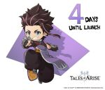 1boy brown_hair chibi copyright copyright_name countdown english_text law_(tales) logo multicolored_hair official_art pink_hair smile solo spiked_knuckles spiky_hair tales_of_(series) tales_of_arise two-tone_hair