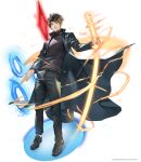 1boy black_coat black_footwear black_hair black_pants black_shirt brown_eyes coat crystal energy_sword highres holding holding_sword holding_weapon leenim long_coat looking_at_viewer lord_of_dice magic male_focus official_art open_clothes open_coat pants shirt shoes short_hair solo sword tower_of_god twenty-fifth_bam weapon white_background