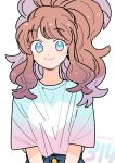 1girl alternate_costume bangs blue_eyes brown_hair buttons closed_mouth commentary_request eyebrows_visible_through_hair eyelashes gradient_shirt hagetapo heart high_ponytail hilda_(pokemon) long_hair looking_at_viewer number pokemon pokemon_adventures shirt sidelocks smile solo white_(pokemon) white_background