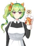 2girls :< absurdres ahoge animal_ears animal_hands apron bails bangs cat_paws crossed_bangs eight-tailed_fox_nari expressionless eyebrows_visible_through_hair fake_animal_ears flower green_hair guardian_tales hair_flower hair_ornament highres holding looking_at_another maid maid_apron mayreel_(guardian_tales) multiple_girls official_alternate_costume pink_eyes pixel_art ponytail upper_body white_background