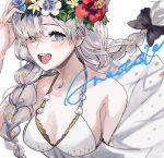 1girl :d a_o_ume anastasia_(fate) bare_shoulders blue_eyes bow braid dress fate/grand_order fate_(series) flower hair_bow hair_ornament highres long_hair open_mouth silver_hair simple_background smile solo star_(symbol) star_hair_ornament swimsuit twin_braids upper_body very_long_hair white_background wreath