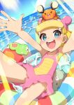 1girl :d absurdres arms_up bare_arms blonde_hair blue_eyes blush bonnie_(pokemon) clouds commentary_request cosplay day dedenne eyelashes gen_1_pokemon gen_6_pokemon highres innertube knees legendary_pokemon light_rays looking_at_viewer on_head open_mouth outdoors pokemon pokemon_(anime) pokemon_(creature) pokemon_on_head pokemon_xy_(anime) short_hair sky slowbro slowbro_(cosplay) smile spread_fingers taisa_(lovemokunae) teeth tongue water zygarde zygarde_core