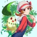 1girl arm_behind_back blue_overalls blush bow brown_eyes brown_hair cabbie_hat chikorita closed_mouth commentary delta_nonbiri eyelashes gen_2_pokemon hand_up hat hat_bow index_finger_raised leaves_in_wind long_hair lyra_(pokemon) outline pokemon pokemon_(creature) pokemon_(game) pokemon_hgss red_bow red_shirt shirt smile twintails white_headwear