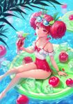 1girl bangs bare_legs blurry blurry_foreground bow breasts cherry cherry_earrings cherry_hair_ornament closed_mouth cocktail_umbrella commentary_request crazy_straw cup double_bun drinking_glass drinking_straw earrings eyebrows_visible_through_hair eyewear_on_head food food-themed_earrings food-themed_hair_ornament frilled_swimsuit frills from_above fruit green_ribbon hair_ornament hair_ribbon heartki highres holding holding_cup ice ice_cube jewelry leaf lemon lemon_hair_ornament lemon_slice long_hair looking_at_viewer medium_breasts nail_polish off-shoulder_one-piece_swimsuit off_shoulder one-piece_swimsuit original outdoors red_bow red_eyes red_nails red_swimsuit redhead ribbon sitting solo sunglasses swimsuit tropical_drink two-tone_swimsuit water white_swimsuit