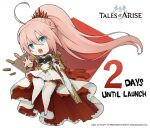 1girl armor armored_dress blue_eyes bullet chibi copyright copyright_name countdown dress english_text gun logo looking_at_viewer official_art open_mouth pink_hair ponytail rifle shionne_(tales) solo tales_of_(series) tales_of_arise thick_thighs thigh-highs thighs weapon white_legwear