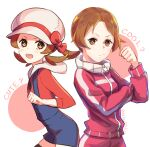 1girl :d blue_overalls blush bow brown_eyes brown_hair cabbie_hat clenched_hand closed_mouth commentary_request delta_nonbiri eyelashes hat hat_bow highres long_hair looking_at_viewer lyra_(pokemon) multiple_views open_mouth overalls pokemon pokemon_(game) pokemon_hgss red_bow red_shirt shirt smile tied_hair twintails upper_teeth white_headwear