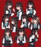+_+ 1girl :d absurdres black_dress blue_bow blue_eyes blue_neckwear blush bow bowtie brown_hair closed_mouth crossed_arms dress elisia_valfelto expressions facing_viewer hair_intakes half-closed_eye hand_on_hip hand_to_own_mouth highres index_finger_raised long_hair long_sleeves looking_at_viewer luicent multiple_views open_mouth original red_background shirt simple_background smile sparkle white_shirt wide-eyed