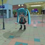 1girl aiu404l black_footwear black_skirt black_sleeves blood blood_on_clothes blood_on_face blood_on_ground blood_on_knife blue_eyes blue_hair blue_neckwear boots detached_sleeves hatsune_miku holding holding_knife holding_weapon knee_boots knife lamppost mall mikudayoo necktie open_mouth shadow shirt skirt sleeveless sleeveless_shirt smile solo tile_floor tiles twintails vocaloid weapon white_shirt
