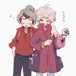 2boys ahoge bangs beanie bede_(pokemon) brown_hair buttons cable_knit closed_eyes coat commentary_request curly_hair gloves grey_headwear hat high_collar highres male_focus multiple_boys musical_note nodori710 open_mouth pants parted_lips partially_fingerless_gloves plaid pokemon pokemon_(game) pokemon_swsh purple_coat red_shirt shirt short_hair simple_background single_glove sleeves_rolled_up smile translation_request upper_teeth victor_(pokemon) watch watch white_background white_shirt