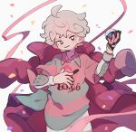 1boy ahoge bangs bede_(pokemon) blurry collared_shirt commentary_request confetti curly_hair dynamax_band eyelashes gloves great_ball grey_hair hand_up head_tilt highres holding holding_poke_ball looking_at_viewer male_focus nodori710 parted_lips poke_ball pokemon pokemon_(game) pokemon_swsh ribbon shirt short_hair short_sleeves single_glove smile solo undershirt violet_eyes