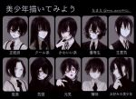 1boy bangs bishounen black_choker black_eyes black_hair black_nails black_shirt black_vest blazer blunt_bangs bow bowtie chart check_translation choker commentary_request ear_piercing ears eyebrows eyeshadow glasses grey_background grey_eyes hair_between_eyes hair_over_eyes high_ponytail highres hood hood_up hoodie jacket jewelry long_hair long_sleeves looking_at_viewer loose_bowtie loose_necktie makeup medium_hair multiple_views nail_polish necktie nose open_mouth original parted_bangs partially_translated piercing ponytail ring senjuuzou_(xxxx_xxxxansz) shirt short_hair sidelocks simple_background smile solo suspenders tongue tongue_out translation_request turtleneck twitter_username v vest violet_eyes white_shirt yellow_eyes zipper zipper_pull_tab