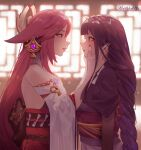 2girls absurdres after_kiss artist_name assertive_female bangs bare_shoulders blunt_bangs blush bow bowtie braid eye_contact face-to-face from_side genshin_impact hair_ornament hands_on_another's_face highres huge_filesize japanese_clothes kimono long_hair looking_at_another lufi_ays miko multiple_girls open_mouth pink_hair purple_hair raiden_shogun saliva saliva_trail violet_eyes wide_sleeves yae_(genshin_impact) yukata yuri