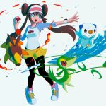 1girl absurdres bangs black_legwear bow breasts brown_hair commentary double_bun fire floating_hair gen_5_pokemon hand_up highres holding holding_poke_ball legwear_under_shorts long_hair open_mouth oshawott outstretched_arm pantyhose pink_bow plant poke_ball poke_ball_(basic) pokemon pokemon_(creature) pokemon_(game) pokemon_bw2 raglan_sleeves rosa_(pokemon) shirt shoes short_shorts shorts sneakers snivy starter_pokemon_trio tepig tongue trinity_pizza twintails upper_teeth vines visor_cap water yellow_shorts