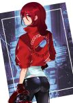 1girl absurdres akira ass blush boots cyberpunk emi_star from_behind gloves hair_over_one_eye highres jacket kirijou_mitsuru long_hair looking_at_viewer pants persona persona_3 red_eyes redhead simple_background solo