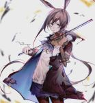 1girl amiya_(arknights) animal_ears arknights ascot black_jacket black_legwear blue_eyes blue_neckwear blue_skirt bow_(instrument) brown_hair commentary cowboy_shot extra_ears highres holding holding_instrument hood hood_down instrument jacket jewelry long_hair looking_at_viewer multiple_rings open_clothes open_jacket pantyhose rabbit_ears ring shiguilinga shirt skirt solo symbol-only_commentary violin white_shirt