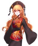 1girl bangs belt black_belt black_dress black_headwear black_sleeves bow bowtie breasts chinese_clothes crescent dress eyebrows_visible_through_hair hair_between_eyes hat highres junko_(touhou) long_hair long_sleeves looking_to_the_side medium_breasts nemachi open_mouth orange_hair phoenix_crown pom_pom_(clothes) red_eyes red_vest simple_background smile solo tabard touhou vest white_background wide_sleeves yellow_bow yellow_neckwear