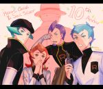 1girl 4boys anniversary archer_(pokemon) ariana_(pokemon) blue_hair blush brown_headwear commentary_request copyright_name covering_mouth delta_nonbiri elbow_gloves eyelashes facial_hair giovanni_(pokemon) gloves hand_up hands_up hat holding jacket long_hair multiple_boys one_eye_closed orange_hair own_hands_together petrel_(pokemon) pokemon pokemon_(game) pokemon_hgss proton_(pokemon) purple_hair short_hair team_rocket team_rocket_uniform tearing_up white_gloves white_jacket