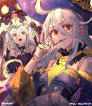2girls ahoge commentary crown doll_joints dress english_commentary granblue_fantasy grey_hair grin hair_between_eyes hand_up hat highres joints looking_at_viewer multiple_girls open_mouth orchis purple_dress purple_headwear red_eyes runemill shadowverse shingeki_no_bahamut sketch smile twitter_username zwei_(bahamut)