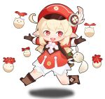 1girl :d absurdres ahoge backpack bag bag_charm bangs bloomers boots brown_footwear brown_gloves cabbie_hat charm_(object) chibi clover_print coat commentary_request dodoco_(genshin_impact) error eyebrows_visible_through_hair full_body genshin_impact gloves hair_between_eyes hat hat_feather hat_ornament highres jumping jumpy_dumpty klee_(genshin_impact) knee_boots kneehighs light_brown_hair long_hair long_sleeves looking_at_viewer low_twintails open_mouth outstretched_arms pointy_ears randoseru red_coat red_eyes red_headwear sidelocks simple_background smile solo spread_arms twintails underwear white_background xiaomu_(a414171448)