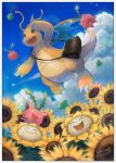 :d bag black_bag border brown_eyes claws clouds commentary_request day dragonite flower flying gen_1_pokemon gen_2_pokemon highres hoppip kikuyoshi_(tracco) looking_down open_mouth outdoors pokemon shoulder_bag signature skiploom sky smile sunflora sunflower tongue white_border yellow_eyes yellow_flower