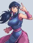 1girl black_eyes black_hair blue_dress breasts chi-chi_(dragon_ball) china_dress chinese_clothes dragon_ball dragon_ball_(classic) dress fighting_stance grey_background kemachiku long_hair looking_away medium_breasts simple_background solo