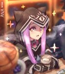 +_+ 1girl animal_hood belt_collar black_capelet black_gloves blurry blurry_background blurry_foreground capelet collar commentary cup depth_of_field english_commentary fate/grand_order fate_(series) food gloves highres holding holding_cup hood hood_up long_hair long_sleeves looking_at_viewer medusa_(fate) medusa_(lancer)_(fate) open_mouth pink_eyes pink_hair runemill sanpaku solo_focus sparkle twitter_username wide-eyed