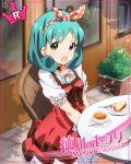 blue_hair blush character_name dress idolmaster_million_live!_theater_days red_eyes short_hair smile tokugawa_matsuri