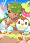 1girl ;d absurdres bangs barefoot bounsweet bowl clouds commentary_request dark-skinned_female dark_skin day eyelashes gen_7_pokemon green_eyes green_hair green_swimsuit heart highres holding holding_bowl holding_spoon long_hair mallow_(pokemon) navel one_eye_closed open_mouth outdoors pokemon pokemon_(anime) pokemon_(creature) pokemon_sm_(anime) rowlet sand shaved_ice shore sitting sky smile spoon swept_bangs swimsuit taisa_(lovemokunae) teeth themed_object toes tongue twintails water