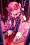 1girl :q babydoll bangs bare_shoulders black_choker black_legwear black_neckwear blood blood_on_clothes blood_on_face blood_on_hands blood_on_weapon blurry blurry_foreground bow breasts choker closed_mouth dead_apostle_noel_(tsukihime) eyebrows_visible_through_hair hair_bow head_tilt highres holding holding_sword holding_weapon long_hair looking_at_viewer multicolored multicolored_clothes multicolored_legwear nattsu_(nattu888_8) noel_(tsukihime) petals pink_bow pink_hair pool_of_blood red_eyes rose_petals sidelocks signature sitting sleeveless small_breasts smile solo spoilers sword thigh-highs tongue tongue_out tsukihime tsukihime_(remake) upturned_eyes very_long_hair wariza weapon wrist_cuffs younger