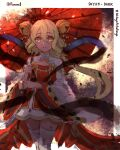 1girl absurdres bell border commentary copyright_request enes_(shingeki_no_bahamut) english_commentary hair_bell hair_ornament highres holding holding_umbrella jingle_bell long_sleeves looking_at_viewer oil-paper_umbrella parted_lips red_umbrella runemill shingeki_no_bahamut smile solo standing thigh-highs twitter_username umbrella white_border white_legwear wide-eyed yellow_eyes
