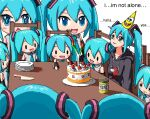 1girl aiu404l among_us birthday_cake birthday_party black_hoodie black_sleeves blue_eyes blue_hair blue_neckwear blush cake chair character_doll closed_mouth collarbone collared_shirt commentary crewmate_(among_us) detached_sleeves drawstring drooling english_commentary english_text food from_behind hat hatsune_miku hood hoodie knife leek lonely long_hair long_sleeves necktie open_mouth parted_lips party_hat pixel_art plate shirt sitting sleeveless sleeveless_shirt smile solo spongebob_squarepants spongebob_squarepants_(character) strawberry_shortcake symbol_in_eye table twintails v-shaped_eyebrows vocaloid white_background white_shirt