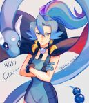 1girl bangs bare_arms blue_bodysuit blush bodysuit cape character_name choker clair_(pokemon) closed_mouth commentary_request copyright_name crossed_arms delta_nonbiri dragonair earrings eyelashes floating_cape floating_hair frown gen_1_pokemon gloves grey_background hair_between_eyes jewelry light_blue_hair long_hair pokemon pokemon_(creature) pokemon_(game) pokemon_hgss ponytail tied_hair