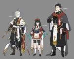 3boys absurdres alternate_costume bandages bangs black_eyes black_gloves black_hair black_pants black_shorts blood blood_on_weapon blue_eyes blue_hair book cape character_name closed_mouth cross dual_wielding full_body gloves grey_background grey_cape hair_between_eyes hat highres himejima_gyoumei holding holding_book holding_sword holding_weapon jewelry kimetsu_no_yaiba kneehighs latin_cross long_hair long_sleeves male_focus multicolored_hair multiple_boys necklace pants papajay_(jennygin2) priest red_headwear scar scar_on_face scarf shinazugawa_sanemi shorts simple_background standing sword tokitou_muichirou torn_clothes undercut weapon white_cape white_hair white_legwear