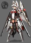 1girl amino_dopple animal_ears between_breasts blush breasts closed_mouth full_body grey_background grey_hair hair_between_eyes highres leotard long_hair looking_at_viewer mecha_musume mechanical_ears mechanical_wings medium_breasts necktie necktie_between_breasts original red_neckwear simple_background solo white_leotard wings yellow_eyes