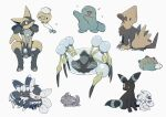 alcremie alternate_color araquanid closed_mouth commentary_request drifloon espurr gen_2_pokemon gen_3_pokemon gen_4_pokemon gen_6_pokemon gen_7_pokemon gen_8_pokemon highres looking_up lucario manectric meowstic meowstic_(female) meowstic_(male) nodori710 pokemon pokemon_(creature) pyukumuku quagsire shiny_pokemon sitting toes umbreon