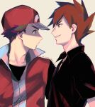 2boys bangs baseball_cap black_shirt blue_oak blush brown_hair collared_shirt commentary dated delta_nonbiri eye_contact grin hat jacket jewelry looking_at_another male_focus multiple_boys necklace pokemon pokemon_(game) pokemon_frlg popped_collar red_(pokemon) red_headwear red_jacket shirt short_hair sleeveless sleeveless_jacket smile spiky_hair teeth upper_body